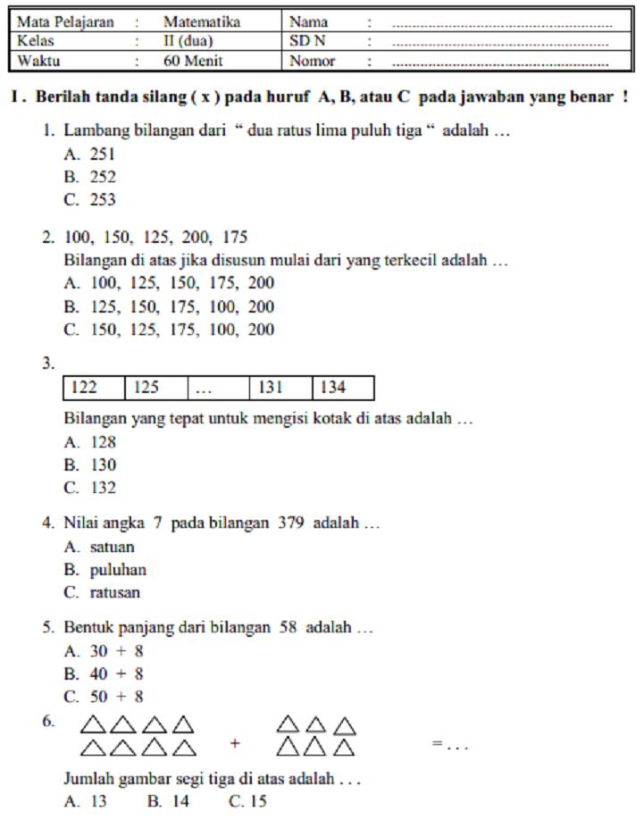 Soal Ujian Matematika Kelas 5 Sd Semester 2