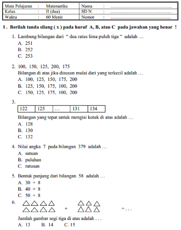 Test Online Ujian Sekolah Matematika