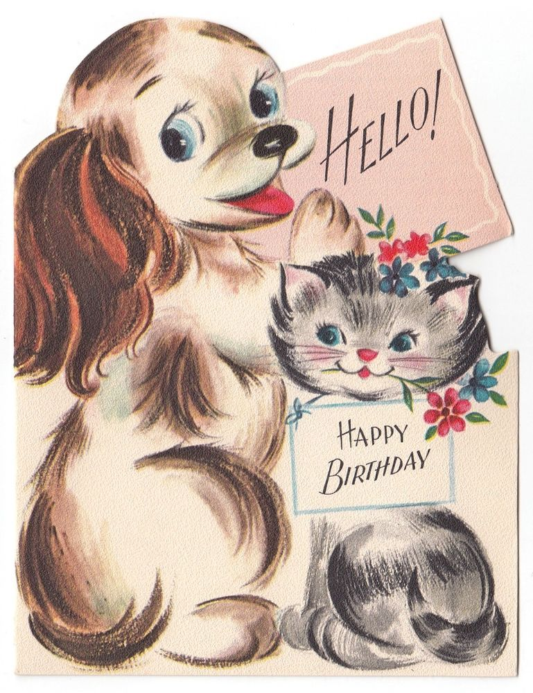 hello this is dog happy birthday. vintage greeting card birthday cute cat dog die-cut hello! hello this is happy