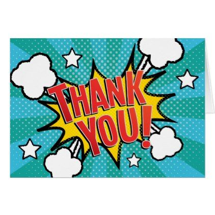 Comic Book PARTY Thank You Card
