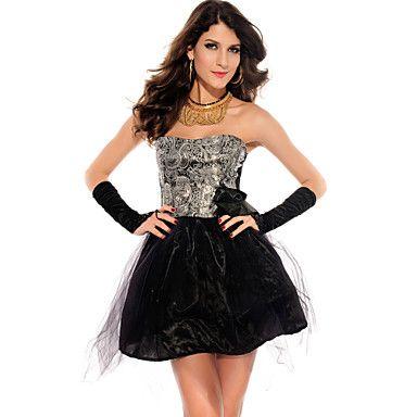 Elegant Strapless Floral Prom Dress