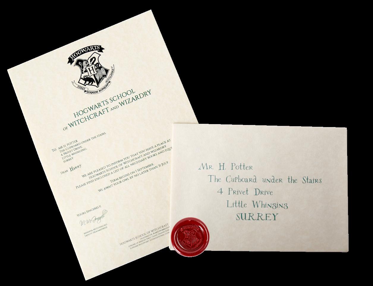 Harry Potter's Hogwarts Acceptance Letter Hogwarts