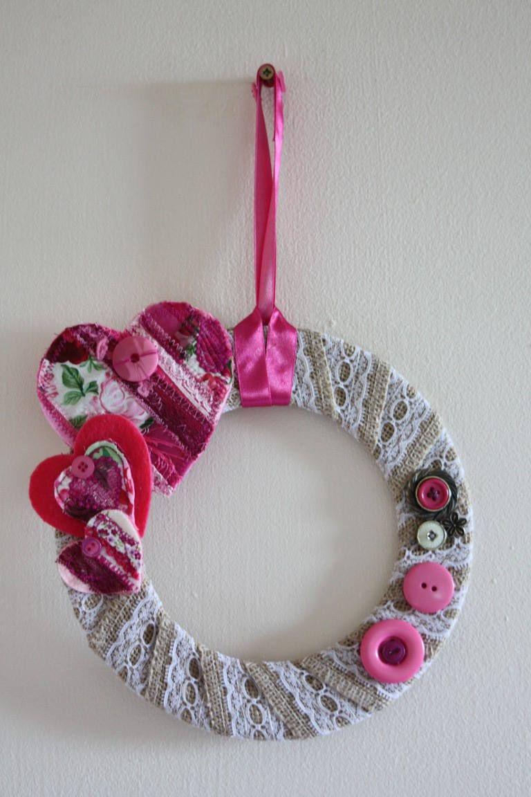 Heart Wreath Wall Decor Love Hearts Pink Hearts Love Wedding Wall Hanging Door Hanging Lace Ribbon Pink Wreath Wreaths