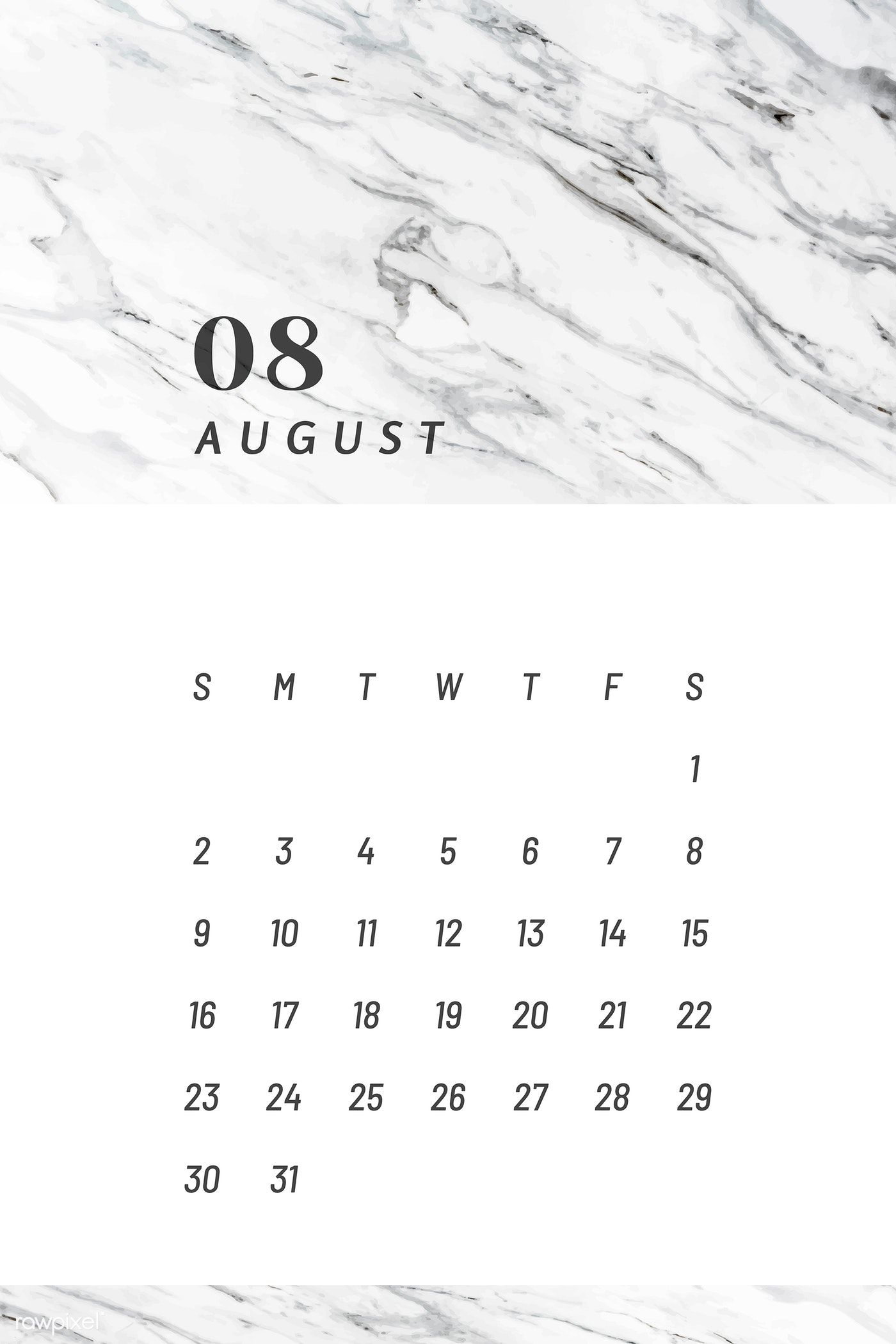 Download premium vector of Black and white August calendar