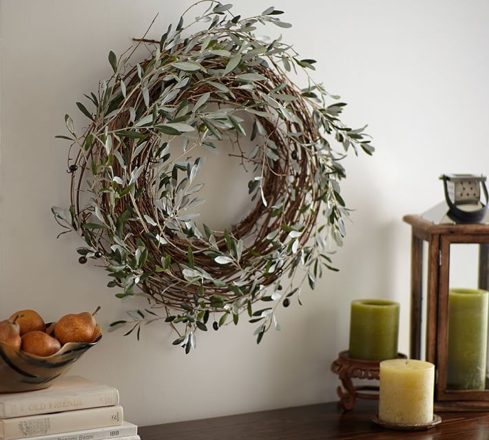Harvest Olive Wreath Natural And Minimal Fall Decor From Pottery Barn Olive Wreath Wreaths Olive Branch Wreath