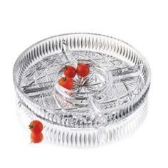 Prato com 5 divisões - Prato de acepipes que poderá usar para dispor frutos secos, gomas, entre outras pequenas iguarias.