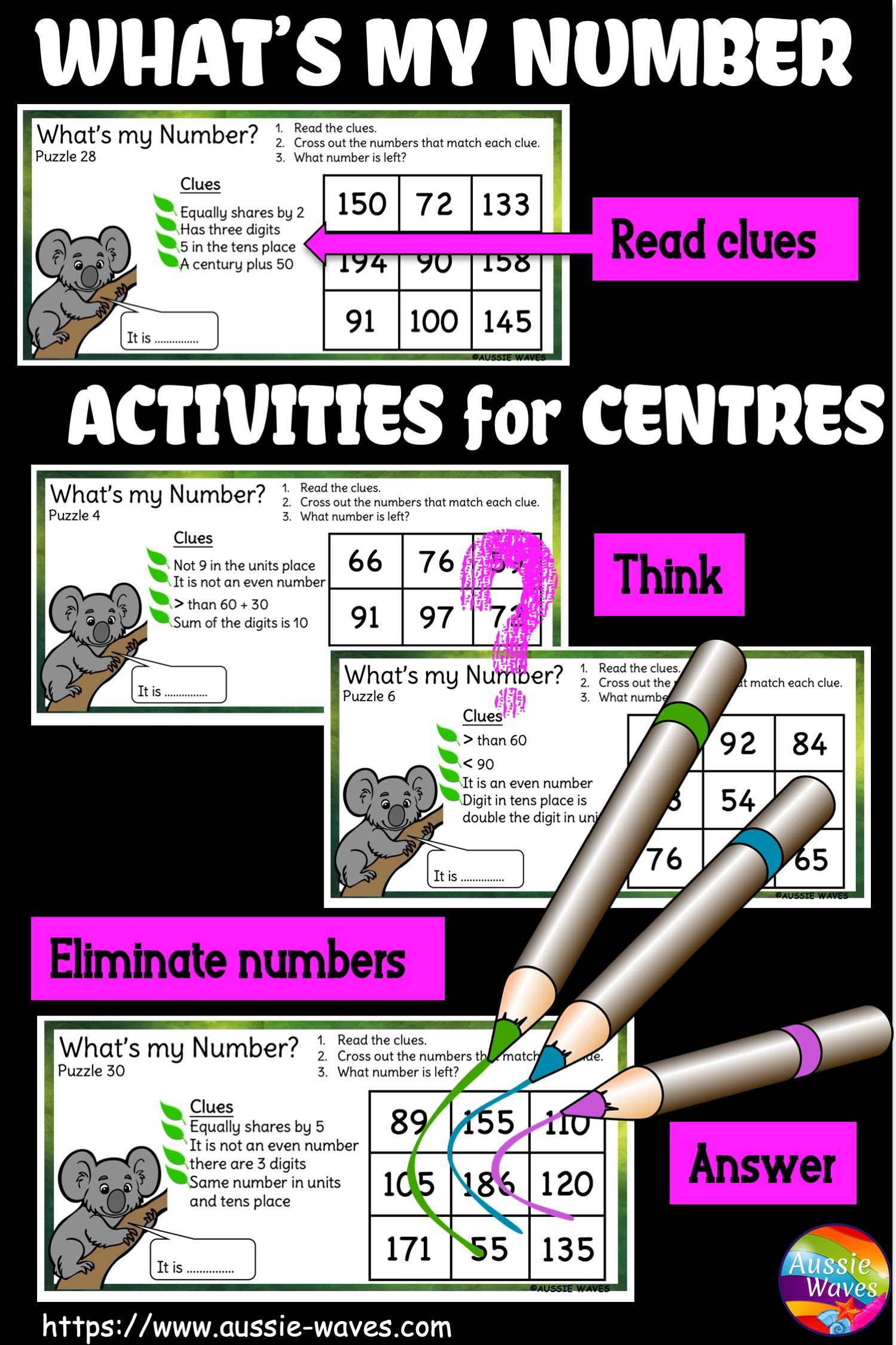 Number Puzzles For Math Centres Year 2 And 3 In