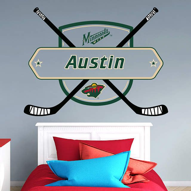Minnesota Wild Personalized Name Wall Decal Shop Fathead For Wall Art Decor Name Wall Decals Detroit Red Wings Hockey Room