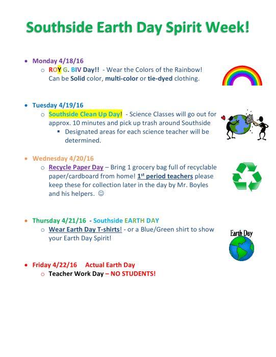 Southside Earth Day Spirit Week School School With Images Spirit Week Earth Day Earth Day Activities