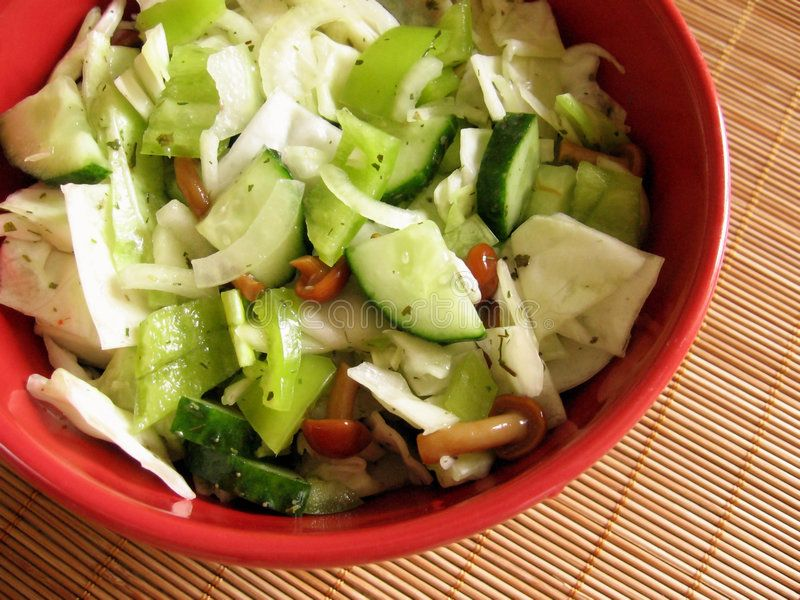 Cabbage salad In the red bowl