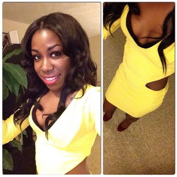 Sexy cut out Dress Super sexy & flirty!  SUNSHINE YELLOW ☀️☀️✨✨ - Long sleeve bodycon dress with plunging V-neck line. Wrap around cut out! SIDES & YOUR BACK WILL BE COMPLETELY OUT stretch material 96% Polyester/ 4% Spandex                                                                                                                   will need to be dry cleaned. Forplay Dresses Long Sleeve