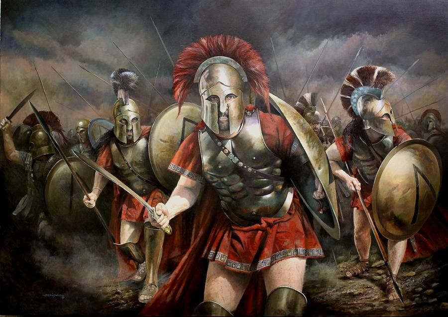 """Here did four thousand men from Pelops'land; Against three hundred myriads bravely stand."" This was in honour of all. Another was for the Spartans alone: - ""Go, stranger, and to Lacedaemon tell That here, obeying her behests, we fell."" Painting by Chris Collingwood"