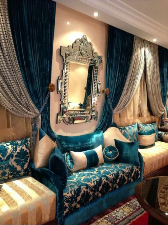 salon marocain vert turquoise beige amenda decor. Black Bedroom Furniture Sets. Home Design Ideas