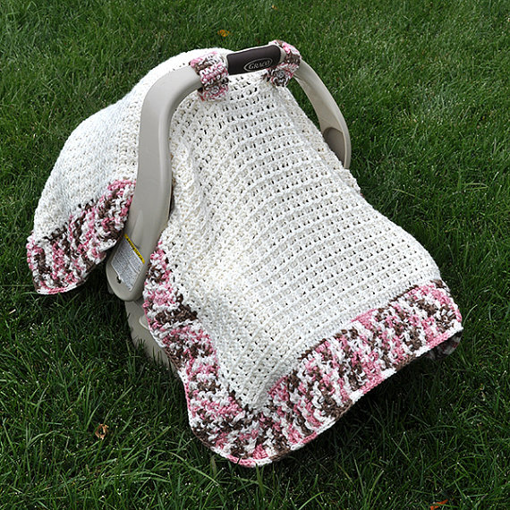 Crochet Pattern - Waffle Stitch Car Seat Canopy Blanket (US & UK ...