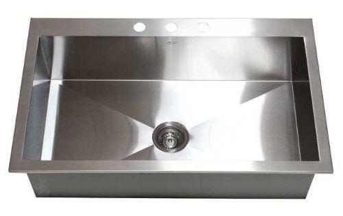 36 Inch Top-Mount / Drop-In Stainless Steel Single Bowl Kitchen Sink Zero Radius Design - - Amazon.com