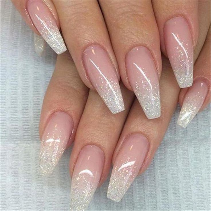French Ombre Nails With Gold Glitter Baby Boomer Coffin Nails Ombre Nails Acrylic Nails Beautifulac Ombre Nail Designs Ombre Nails Glitter Nail Art Ombre