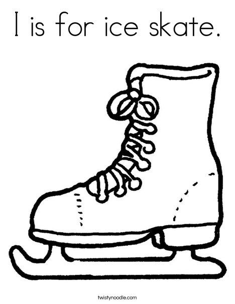 ice skate coloring pages I is for ice skate Coloring Page   Twisty Noodle | Olympic crafts  ice skate coloring pages