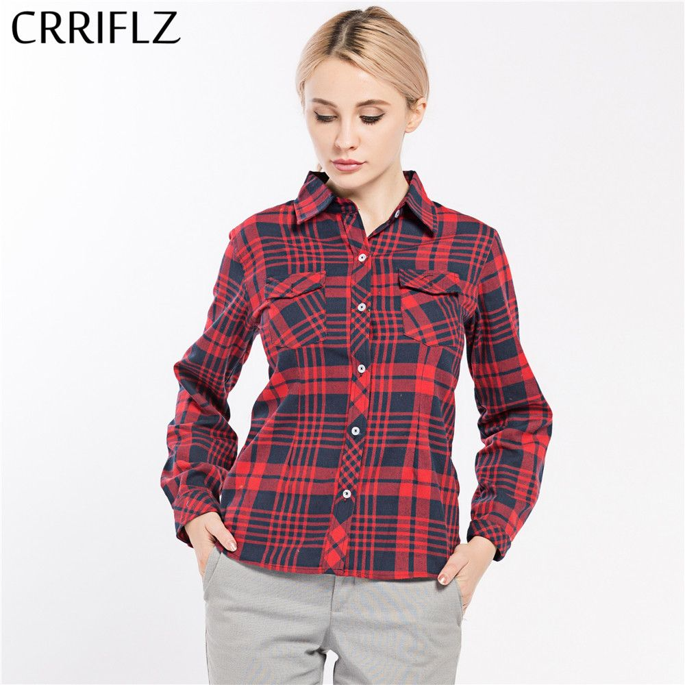 Woman red flannel outfits  Buy CRRIFLZ  Spring Autumn Womenus shirts Clothes Plaid Long