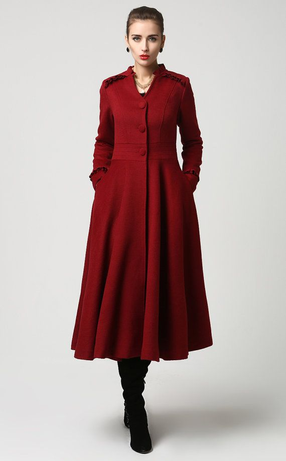Womens Long Red Wool Blend Coat With Ruffle Detailing By Xiaolizi