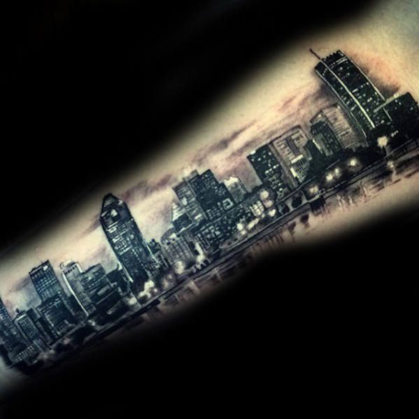 70 City Skyline Tattoo Designs For Men - Downtown Ink Ideas