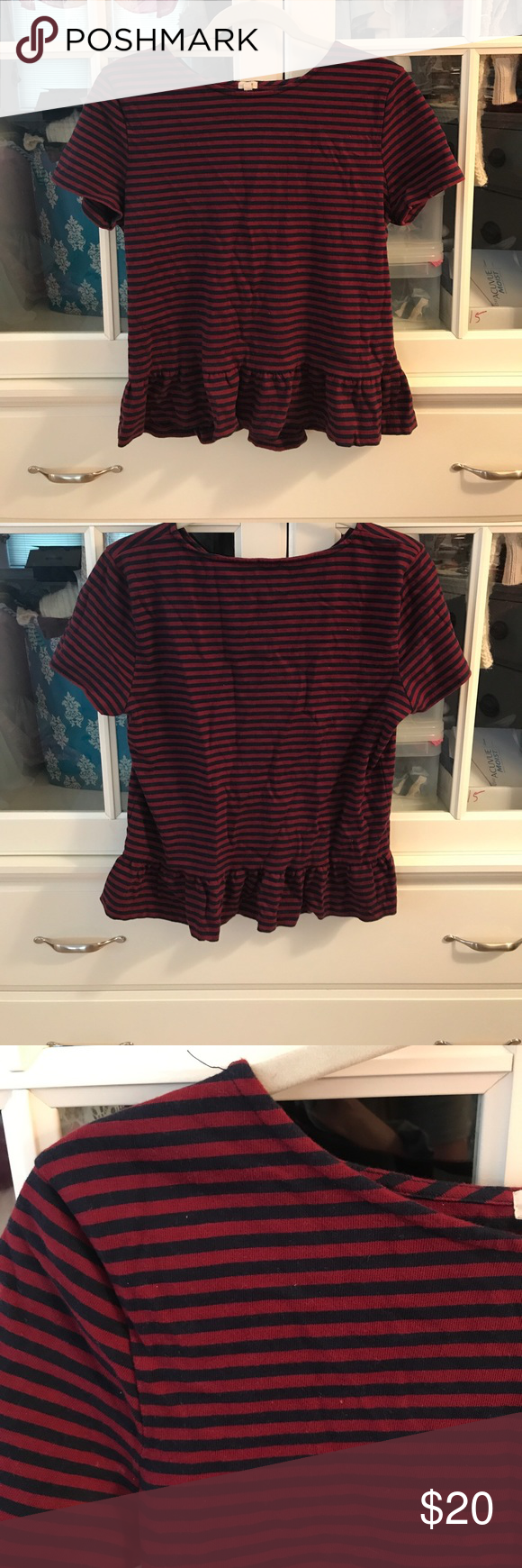 J.Crew Factory Stripe Peplum Shirt J.Crew Factory, red/navy stripe shirt. 100% cotton. Size M. Lightly worn, machine washable J.Crew Factory Tops Tees - Short Sleeve