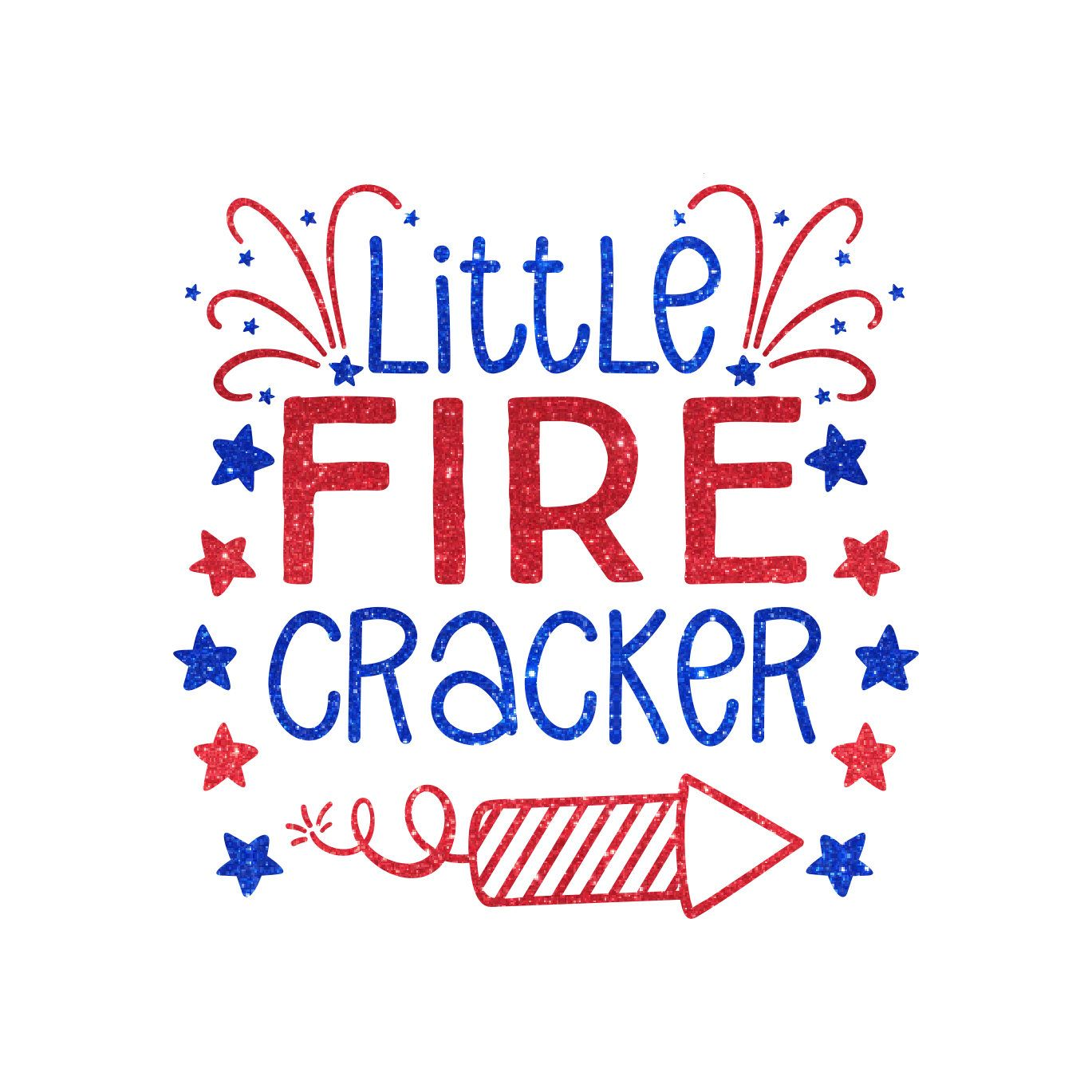 Custom Little Firecracker Fireworks Solid Or Glitter Iron On Heat - Glitter custom vinyl decals for shirts