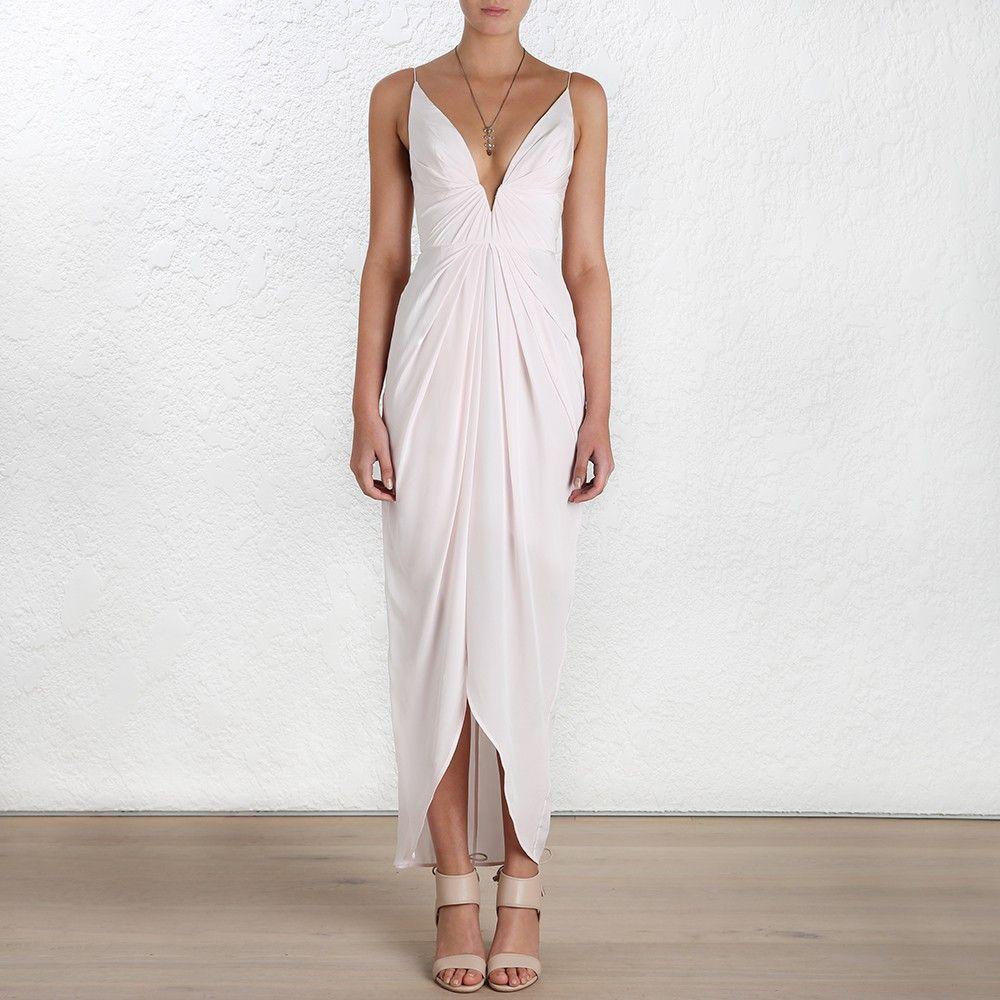 Zimmerman Silk V Tuck Long Dress