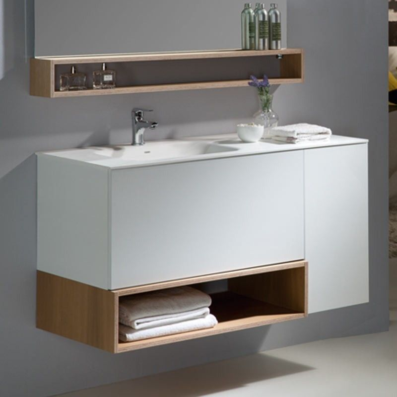 Meuble salle de bain 110 Cm, 2 tiroirs, 1 porte, Boxy Bathroom - Meuble De Salle De Bain Sans Vasque