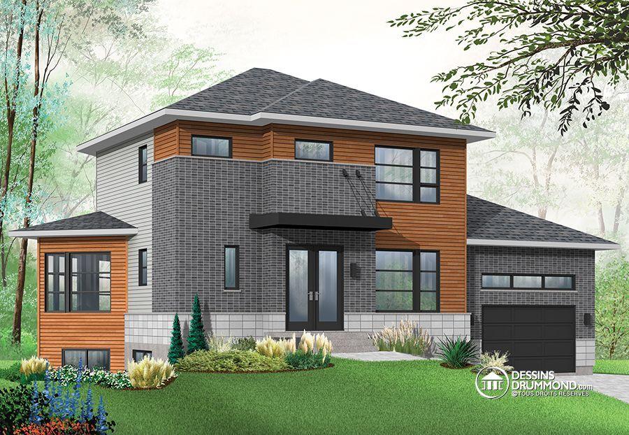 Plan de maison multi logements w3717 v1 bachelor garage luminosit original size house - Plan de maison original ...