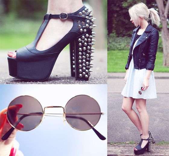 Jeffrey Campbell Spiked Foxy T Bars, Ebay Round Sunglasses, Topshop Faux Leather Jacket, Karma Clothing Dungaree Skater Dress