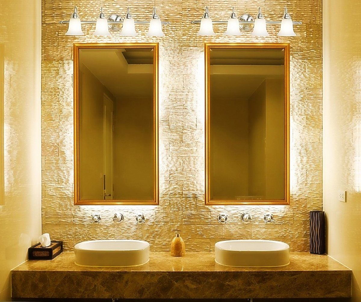 Awesome Bathroom Lighting Fixtures Feat Double Vertical Mirrors