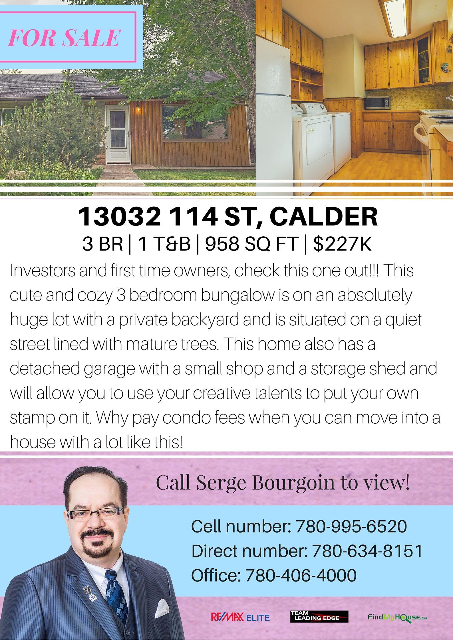 13032 114 STREET CALDER EDMONTON HOUSE FOR SALE MLS LISTINGS