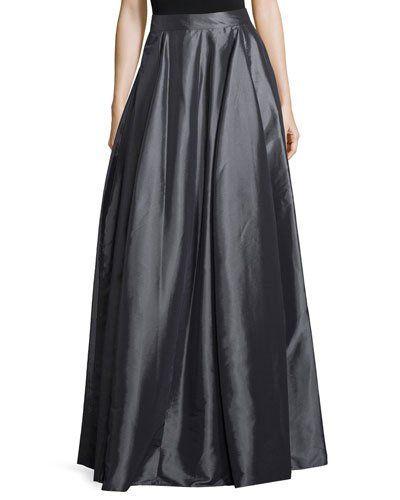 High-Waist Full Maxi Skirt, Charcoal