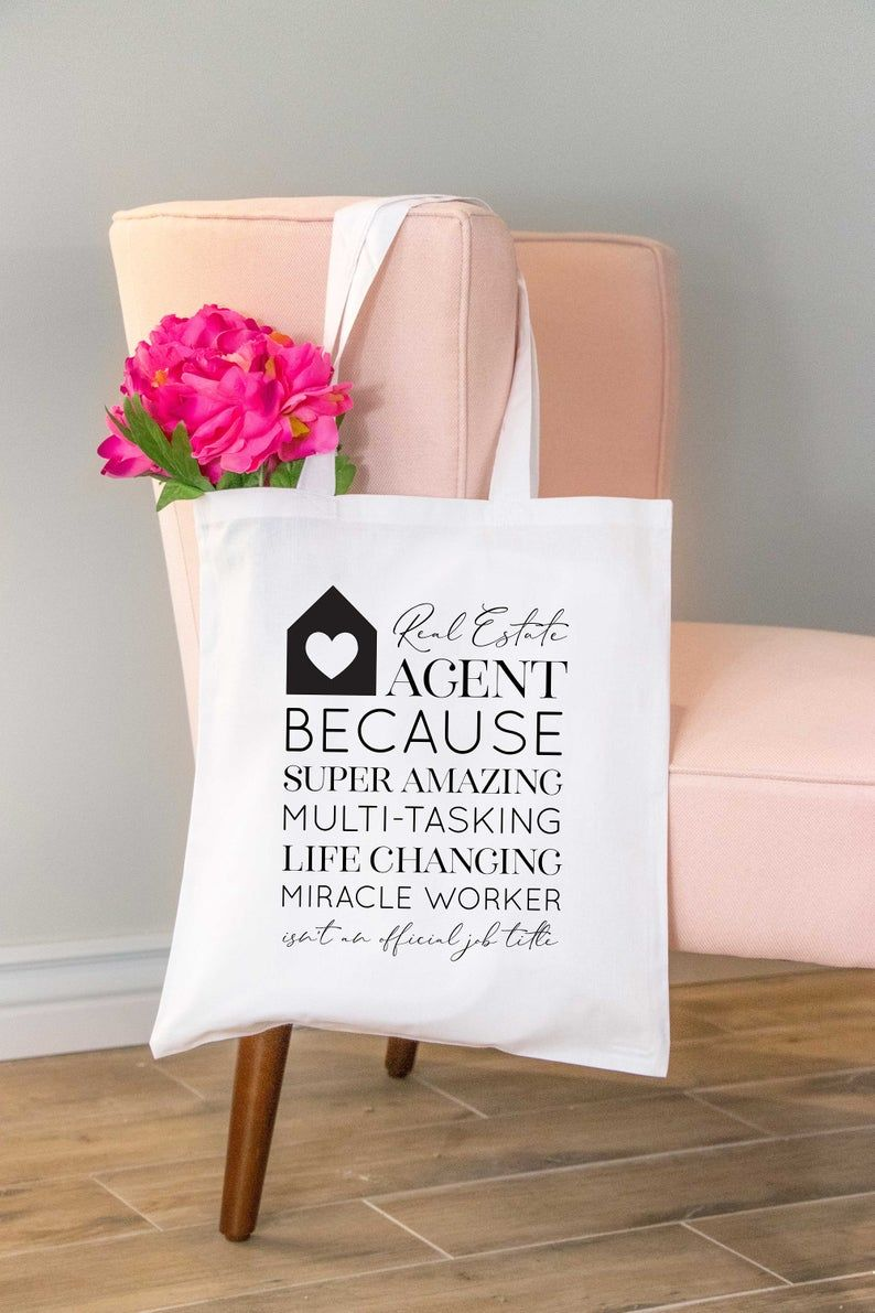 Real Estate Agent Because Job Title Tote Bag Gift Funny Realtor Tote Bag Gift Real Estate Thank You Gift Realtor Broker Gift Realtor Gifts Gifts For Office