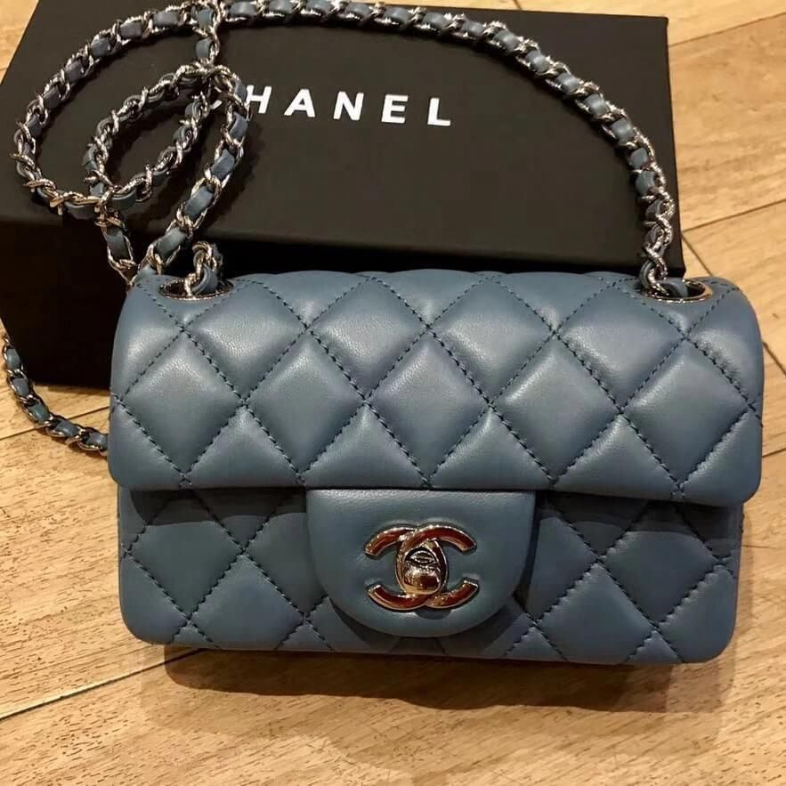 f0bb7e661410 Chanel Extra Mini Classic Flap Bag in Quilting Lambskin Storm Blue 2018  #WomensShoulderbags
