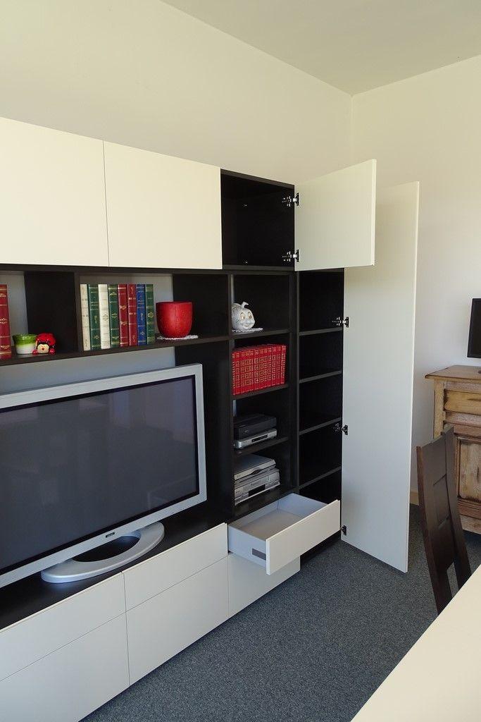 meuble tl living bibliothque design en valchromat noir et mdf laqu blanc - Meuble Tv Living Blanc Laque For You