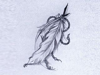 Un dessin réaliste de deux jolies plumes nouées ensemble par une ...