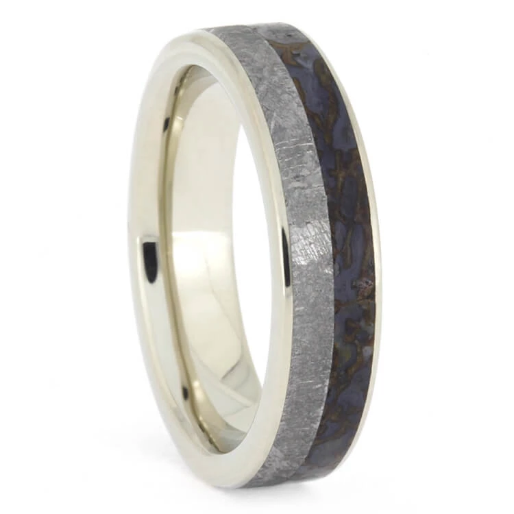 Thin Meteorite and Dino Bone Ring, White Gold Wedding Band