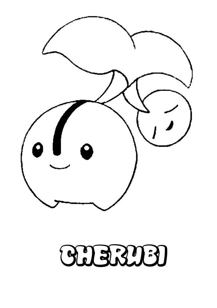 pokmon grass pokemon coloring pages cherubi