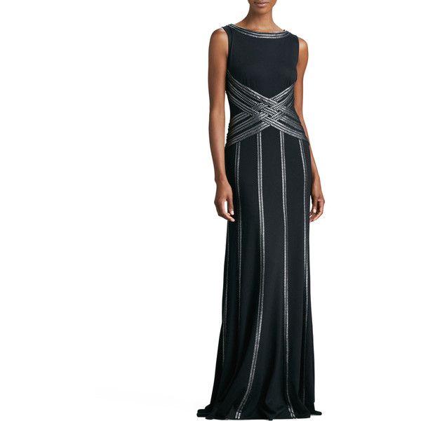 Tadashi Shoji Sleeveless Gown with Ribbon Striping ($290) ❤ liked ...