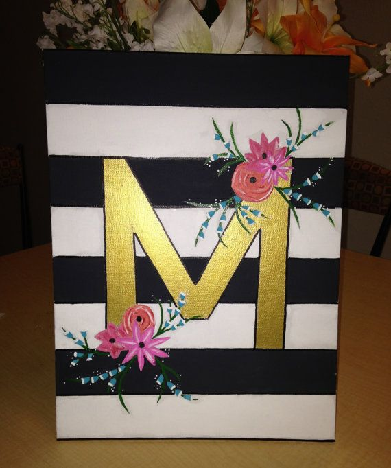 initial canvas painting by craftsbymnicole on etsy 20 00 flowers
