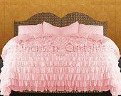 Shabby Chic Chiffon PINK Lacy Ruffle Duvet Cover Set 3pc