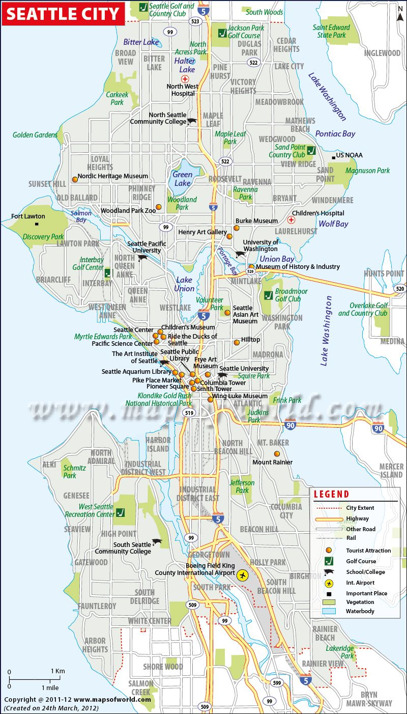 Map of Seattle The map of Seattle is a perfect guide to get