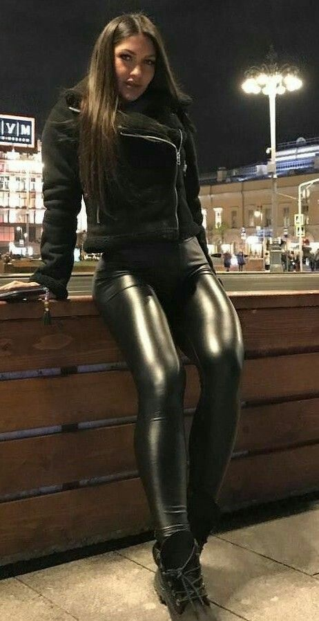 leather Amateur butt shiny pants