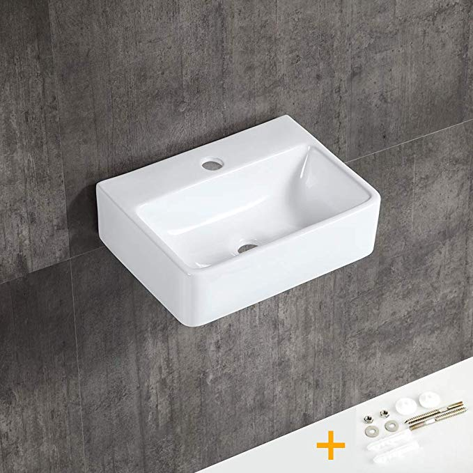 Yeenodo 16 Inch By 12 Inch Ceramic Bathroom Sink Small Vessel Sink Small Wall Hung Sink 16 Above Counter Vessel Sink Mi Small Vessel Sinks Sink Small Wall