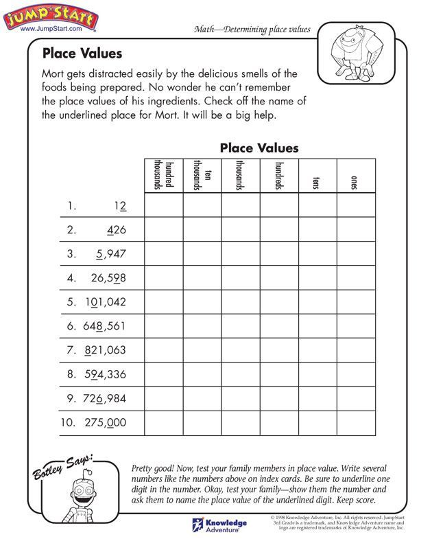 """Place Values"" - 3rd Grade Math Worksheets for Kids on ..."