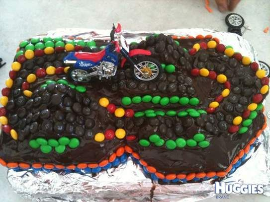 Chocolate mud cake Motocross courseoutlined with M in yummy