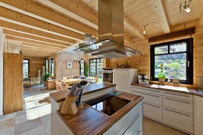 Holzhaus am Bächle Holzhaus Blockhaus Holzhäuser Fullwood - küche weiß mit holz