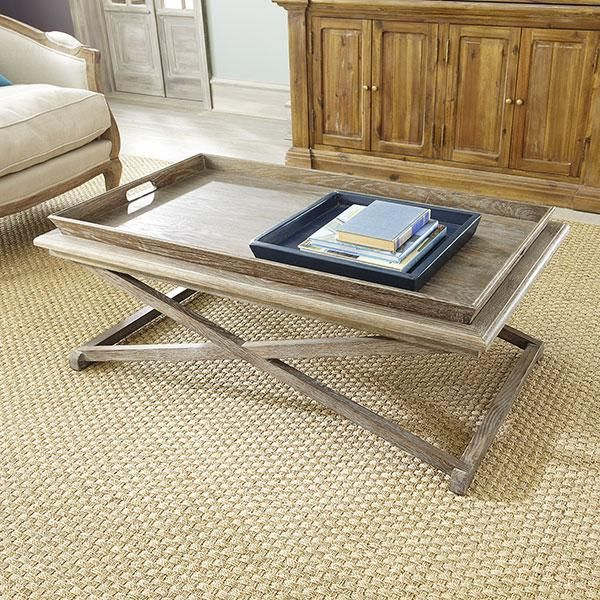 Pine Coffee Table With Baskets: Basket Weathered Coffee Table
