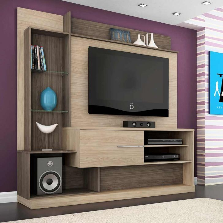 Home Entertainment Design Ideas: Estante Para Home Theater Dimas Areia E Amêndoa Madetec